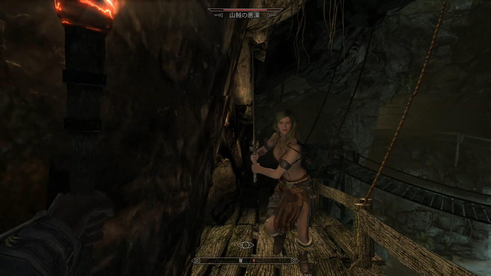矢を射て先制するも、怒りの猛突進で迫る山賊の悪漢さん(美女)この直後に悲劇(動画11分頃)